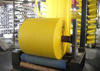 Rolled Woven Polypropylene Cloth , Yellow Offset Print Rice Sack Fabric UV Treated