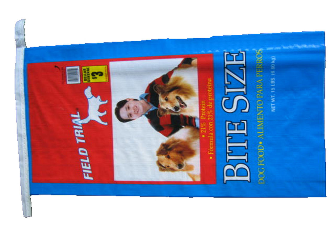 Single Stitched Plastic Feed Bags , Recycle Dog Food Bag 25 Kg Moisture Proof