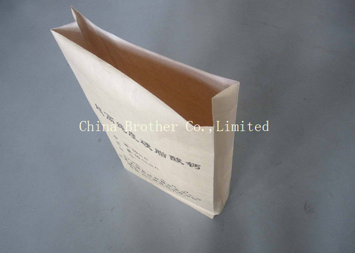 Moisture Proof Kraft Pasted Valve Bags , Fertilizer / Cement Paper Bag 20kg